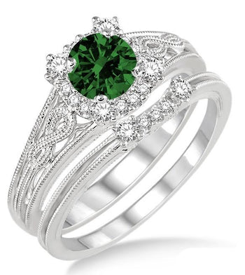 1.25 Carat Emerald & Diamond Vintage halo floral Bridal Set Engagement Ring on White Gold