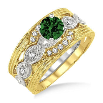 1.25 Carat Emerald & Diamond Vintage Trio Bridal Set Engagement Ring on White Gold
