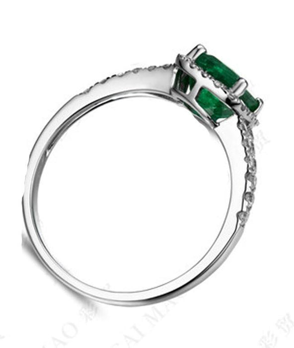 1.25 Carat Green Emerald and Diamond Engagement Ring