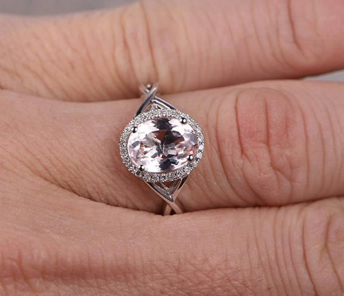 1.25 Carat Morganite and Diamond Engagement Ring in White Gold