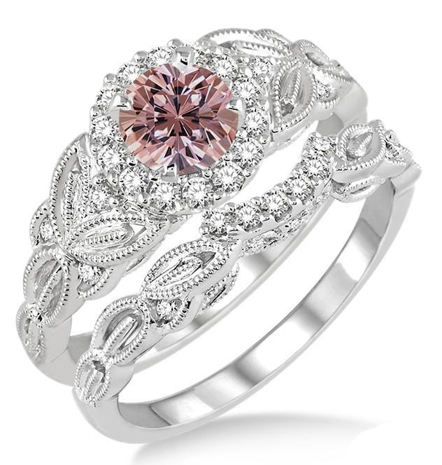 1.25 Carat Morganite & Diamond Vintage Floral Bridal Set Engagement Ring on White Gold