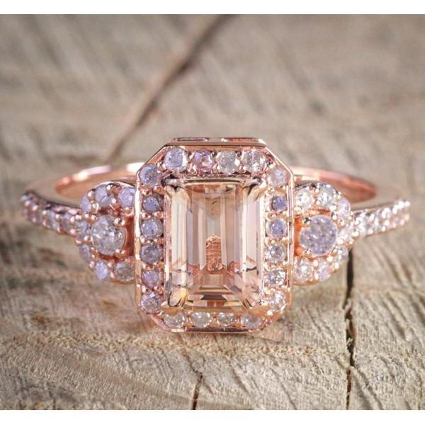 1 25 Carat Emerald Cut Peach Pink Morganite And Diamond Engagement Rin Kisnagems Co Uk