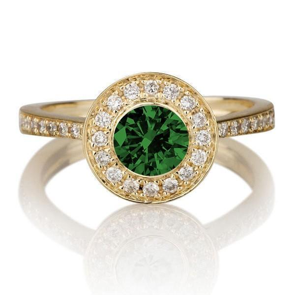 1.25 carat Round Cut Emerald and Diamond Halo Engagement Ring