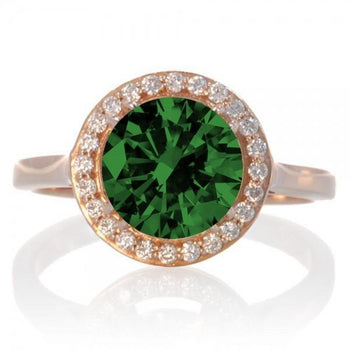 1.25 Carat Round Halo Classic Diamond and Emerald Engagement Ring