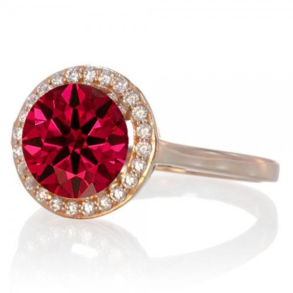 1.25 Carat Round Halo Classic Diamond and Ruby Engagement Ring