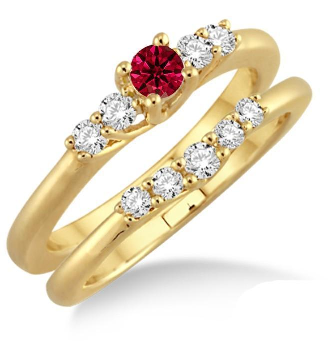 1.25 Carat Ruby & Diamond Affordable Bridal Set on 9k Yellow Gold