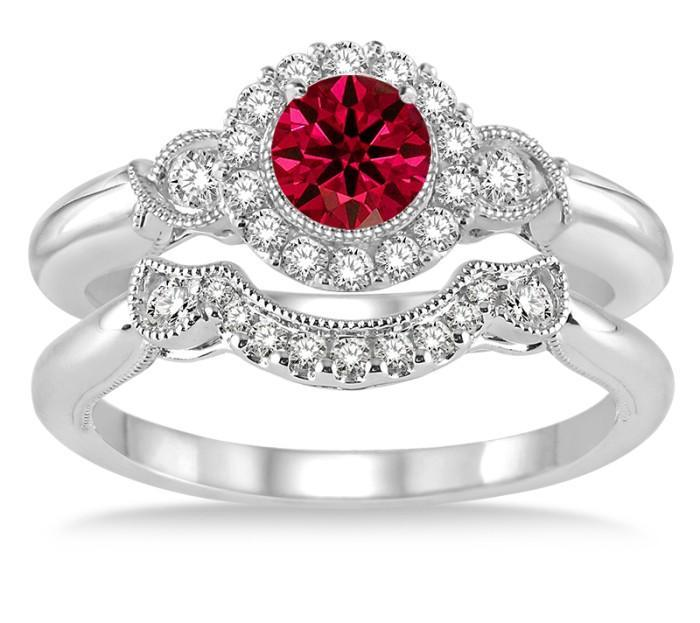 1.50 Carat Ruby & Diamond Antique Three Stone Flower Halo Bridal Set on White Gold