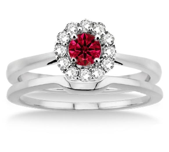 1.25 Carat Ruby & Diamond Bridal set Halo on 9k White Gold