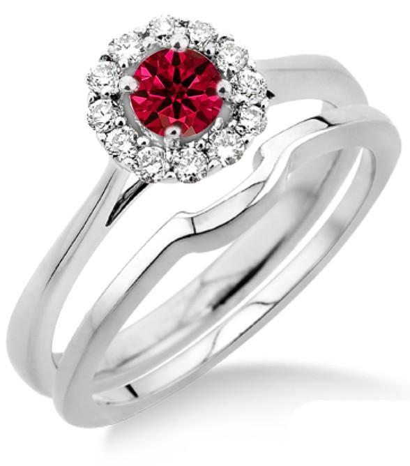 1.25 Carat Ruby & Diamond Bridal set Halo on White Gold