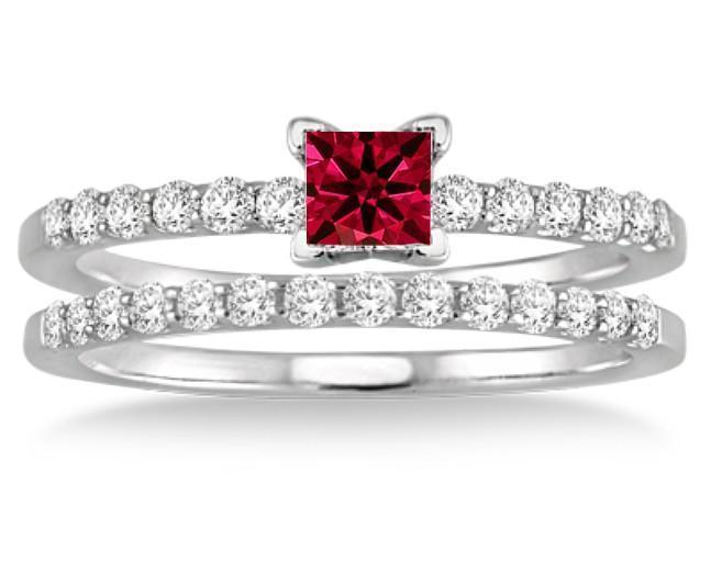 1.25 Carat Ruby & Diamond Bridal Set on 9k White Gold