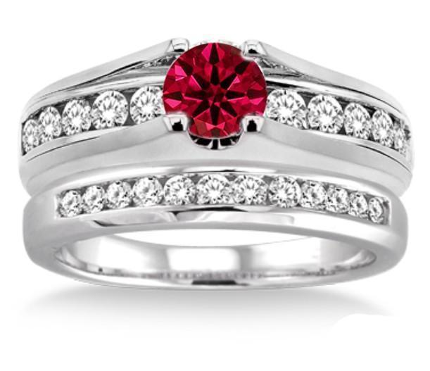 1.25 Carat Ruby & Diamond Bridal Set on 9k White GoldRHJGJoct410