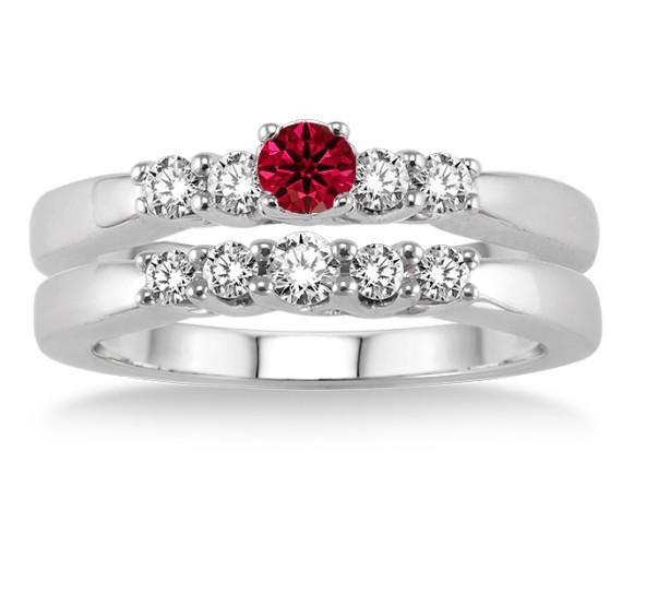 1.25 Carat Ruby & Diamond Elegant 5 stone Bridal Set on White Gold