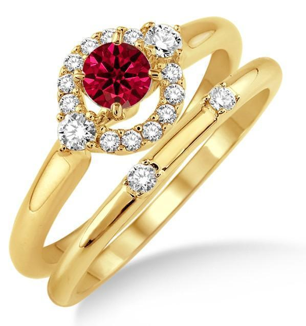 1.25 Carat Ruby & Diamond Elegant Flower Halo Bridal Set on 9k Yellow Gold