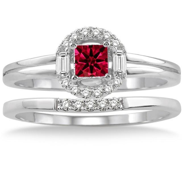 1.25 Carat Ruby & Diamond Elegant Halo Bridal Set on White Gold