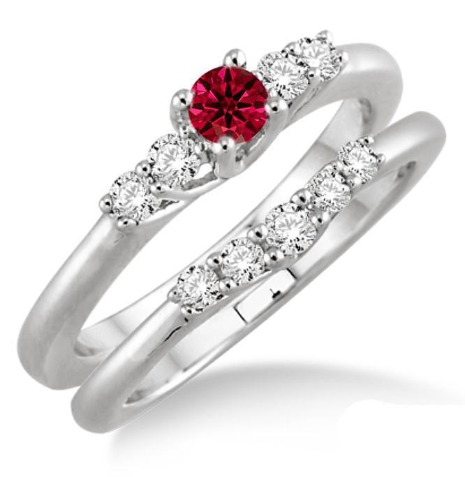 1.25 Carat Ruby & Diamond Inexpensive Bridal Set on 9k White Gold