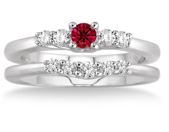 1.25 Carat Ruby & Diamond Inexpensive Bridal Set on White Gold