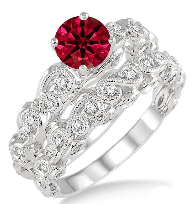 1.25 Carat Ruby & Diamond Infinity Antique Bridal set round cut diamond on 9k White Gold