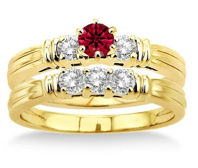 1.25 Carat Ruby & Diamond Three Stone Bridal Set on Yellow Gold