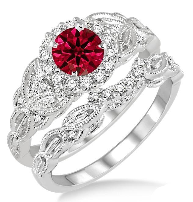 1.25 Carat Ruby & Diamond Vintage floral Bridal Set Engagement Ring on 9k White Gold