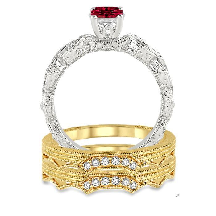 1.25 Carat Ruby & Diamond Vintage Trio Bridal Set Engagement Ring on White Gold