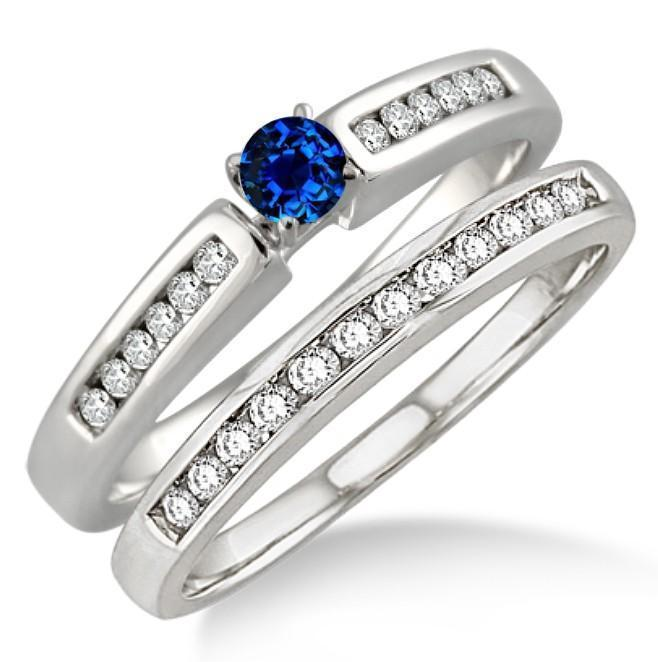 1 Carat Sapphire and Diamond Affordable Bridal Set in White Gold