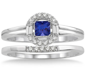 1.25 Carat Princess Cut Sapphire and Diamond Elegant Halo Bridal Set in White Gold