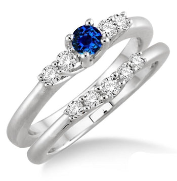 1.25 Carat Sapphire and Diamond Inexpensive Bridal Set in White Gold