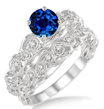 1.25 Carat Sapphire and Diamond Infinity Antique Bridal Set Round Cut Diamond in White Gold