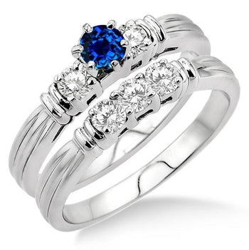 1.25 Carat Sapphire and Diamond Three Stone Bridal Set in White Gold