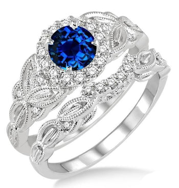 1.25 Carat Sapphire and Diamond Vintage Floral Bridal Set Engagement Ring in White Gold