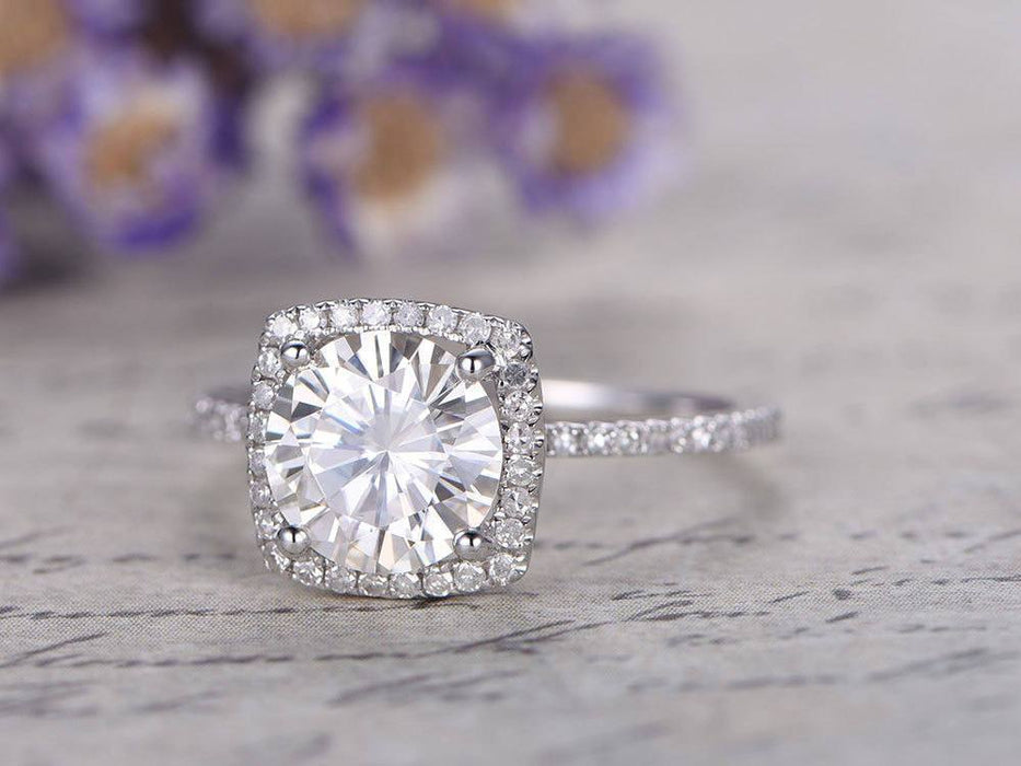 2 Carat Round Cut Moissanite and Diamond Halo Engagement Ring in White Gold