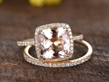 1.50 Carat Cushion Cut Morganite and Diamond Wedding Ring Set in Yellow Gold