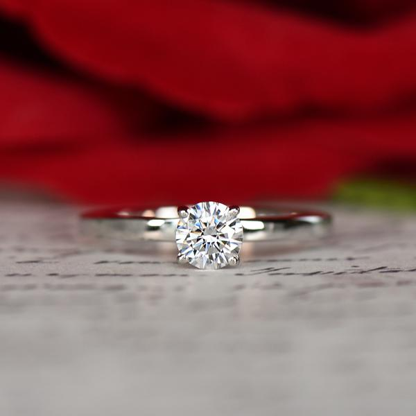 0.5 Carat Round Cut Solitair Engagement Ring in White Gold over Sterling Silver