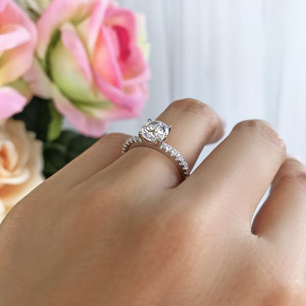 1.25 Carat Round Cut Accented Engagement Ring in White Gold over Sterling Silver