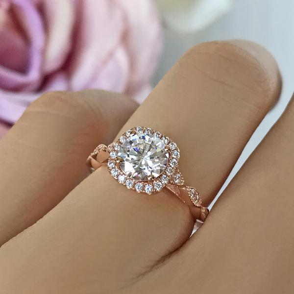 Art Deco 1.5 Carat Round Cut Halo Engagement Ring in Rose Gold over Sterling Silver
