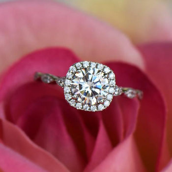 Art Deco 1.5 Carat Round Cut Halo Engagement Ring in White Gold over Sterling Silver