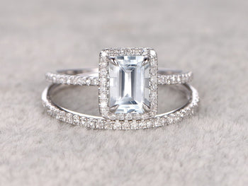 Perfect 2 Carat Emerald Cut Aquamarine and Diamond Bridal Ring Set in White Gold