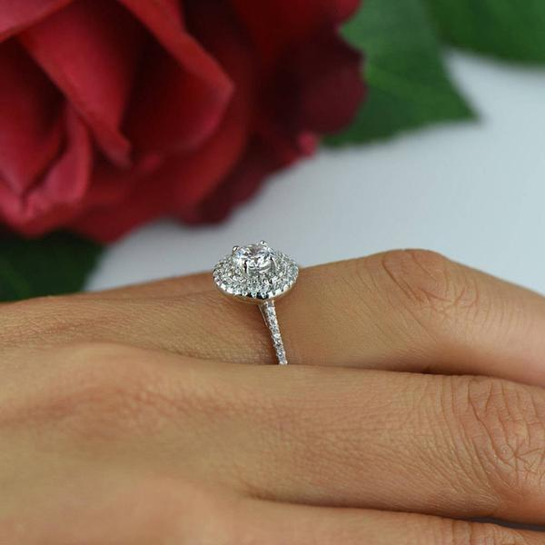1 Carat Round Cut Designer Double Halo Engagement Ring in White Gold over Sterling Silver