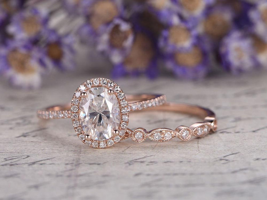1.50 Carat Antique Art Deco Oval Cut Moissanite and Diamond Wedding Set in Rose Gold
