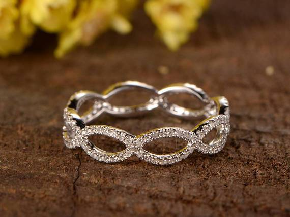 1 Carat infinity eternity Wedding Ring Band in White Gold