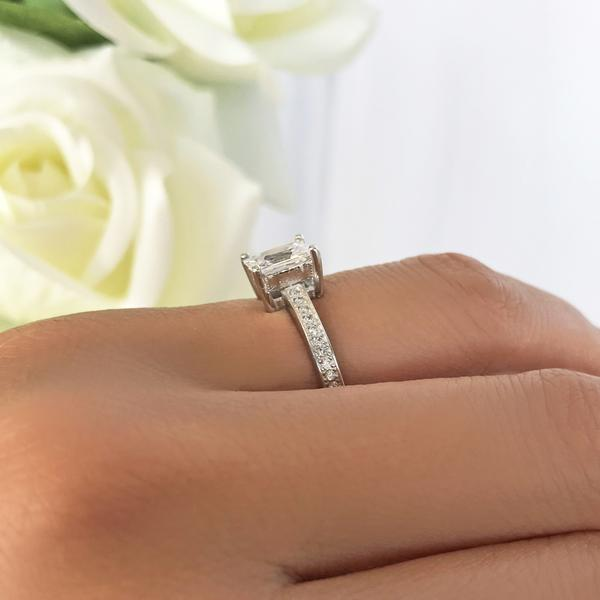 Final Sale: Radiant 1.25 Carat Emerald Cut Channel Accented Engagement Ring in White Gold over Sterling Silver