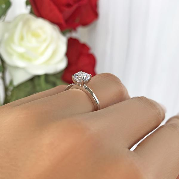 1 Carat Round Cut Classic Solitaire Engagement  Ring in White Gold over Sterling Silver