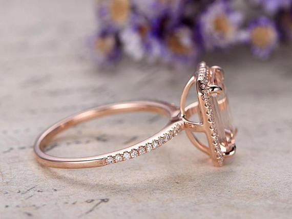 Unique Halo 1.50 Carat Emerald Cut Morganite and Diamond Engagement Ring in Rose Gold