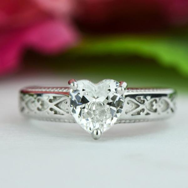 Final Sale 1 Carat Heart Cut Engraved Engagement Ring in White Gold over Sterling Silver