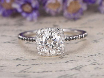 1.50 Carat Round Cut Moissanite and Black Diamond Halo Engagement Ring in White Gold