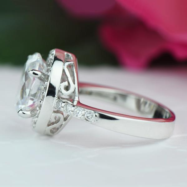 Final Sale 3 Carat Oval Cut Halo Filigree Engagement Ring in White Gold over Sterling Silver