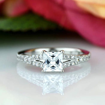 1.25 Carat Princess Cut Split Shank Engagement Ring in White Gold over Sterling Silver