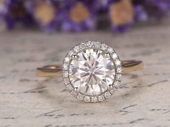 1.25 Carat Round Cut Moissanite and Diamond Halo Engagement Ring in Yellow Gold