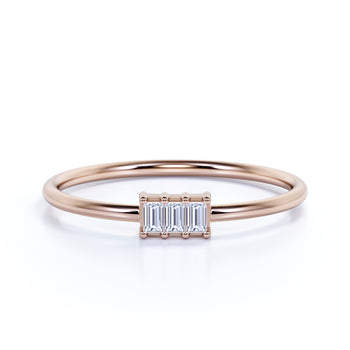 Delicate Emerald Cut Diamond Trilogy Stacking Ring in Rose Gold