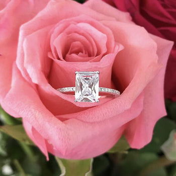 2.25 Carat Emerald Cut Radiant Solitaire Engagement Ring in White Gold over Sterling Silver